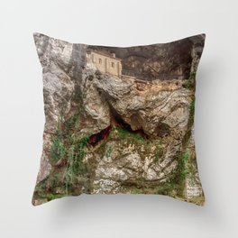 The Holy Cave of Covadonga Throw Pillow