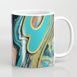 Marble Paint Texture in Gold Black and Teal Coffee Mug
