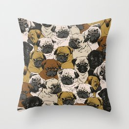 Social Pugs Throw Pillow