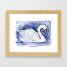 Swan Watercolor Painting Framed Art Print