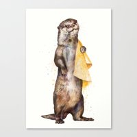 otter Canvas Prints featuring otter by Laura Graves
