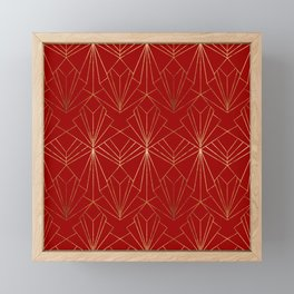 Crimson Red Art Deco Framed Mini Art Print