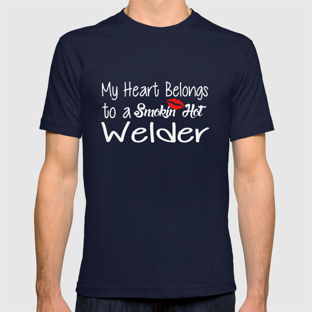 ba479519 Funny Smokin'hot Welder Proud Wife Girlfriend Union Home Husband Welder T-Shirts  T-shirt by jerricakindrick | Society6