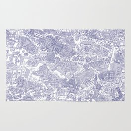 Illustrated map of Berlin-Mitte. Ink pen design Rug