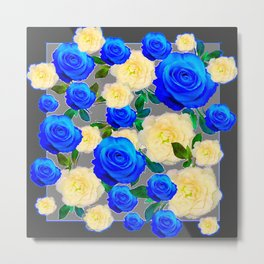 CHARCOAL GREY DECORATIVE WHITE & BLUE ROSE GARDEN Metal Print