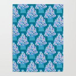Blue Christmas Tree Poster
