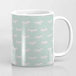 Small Mint Sleeping Eyes Of Wisdom - Pattern - Mix & Match With Simplicity Of Life Coffee Mug