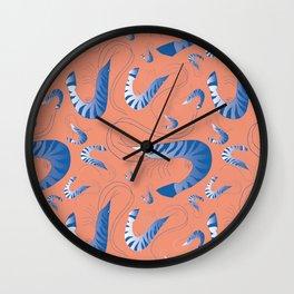 Blue Riviera Prawns Wall Clock