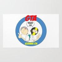 gta Area & Throw Rugs featuring GTA - Mat Botak + Ninja Boy with Circle Behind by Azlee Mahat