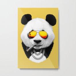 Summer Smoking Panda Metal Print