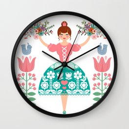 Scandinavian Flower Princess Wall Clock
