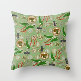 peppers and chicken feet green Throw Pillow