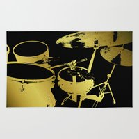 drums Area & Throw Rugs featuring Golden Drums by Tina A Stoffel Arts