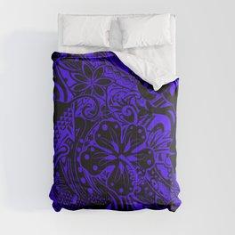 Hawaiian Midnight Blue Tribal Leaves Comforters