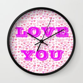 Love you pink Wall Clock