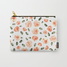 Peach Roses with Olive Leaves // Hand Painted Watercolor Flowers // Peach Roses with Green Leaves Carry-All Pouch