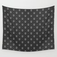 gray pattern Wall Tapestries featuring Pattern Skulls Gray by Raquel Catalan Designs