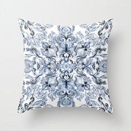Indigo, Navy Blue and White Calligraphy Doodle Pattern Throw Pillow