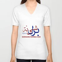 barcelona V-neck T-shirts featuring Barcelona by Sport_Designs