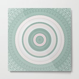 Bohemian Mint Green and Pink Texture Mandala Metal Print