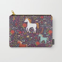 Colorful Unicorns in Evening Garden Carry-All Pouch