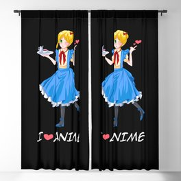I Love Anime Short Hair Girl Otaku Kawaii Gift Blackout Curtain