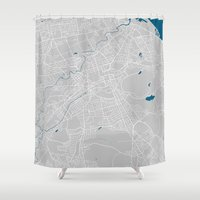 edinburgh Shower Curtains featuring Edinburgh city map grey colour by MCartography