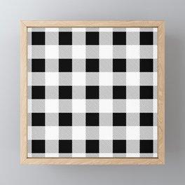 western country french farmhouse black and white plaid tartan gingham print Framed Mini Art Print