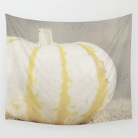 pumpkin Wall Tapestries featuring Striped  Pumpkin by Pure Nature Photos