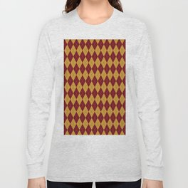 Geometric burgundy yellow orange diamond shapes stripes Long Sleeve T-shirt