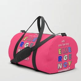 emergency contact valentine - typography Duffle Bag