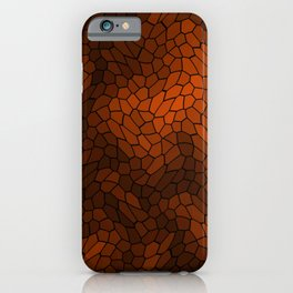 Stained glass texture of snake brown leather with dark heat spots. iPhone Case