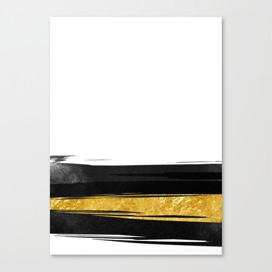 Gold and Black Stripes Canvas Print