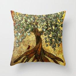 Twisted Oak Tree Throw Pillow