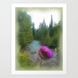 Thistle with Bee Art Print