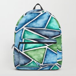 Large scale fragmentation. Watercolor triangles. Backpack