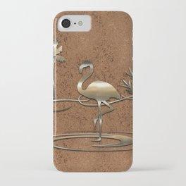 Flamingo in Gold iPhone Case