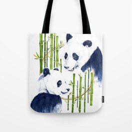 """Harmony"" Panda and Bamboo Watercolor Tote Bag"