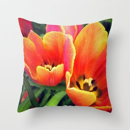 Coral Tulips in Bloom Throw Pillow