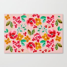 Poppies and Petals on Pink Canvas Print