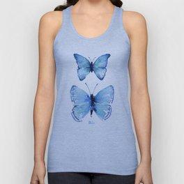 Two Blue Butterflies Watercolor Unisex Tank Top