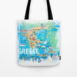 Greece Illustrated Travel Map with Landmarks and Highlights Tote Bag