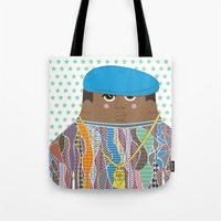 biggie Tote Bags featuring Biggie by Late Greats