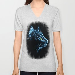 Black Cat Portrait White Charcoal Art Unisex V-Neck