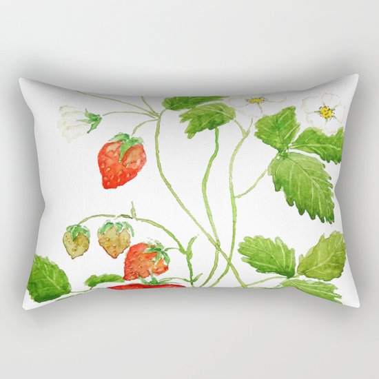 strawberry and strawberry flowers watercolor painting Rectangular Pillow