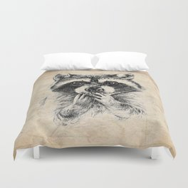 Surprised raccoon Duvet Cover