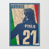 pirlo Canvas Prints featuring andrea pirlo by John Sideris