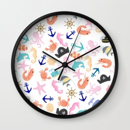 Cute trendy pink teal colorful marine nautical pattern Wall Clock