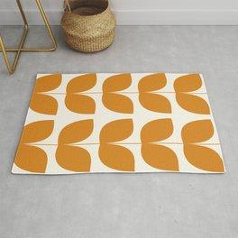 Mid Century Modern Leaves Orange Rug