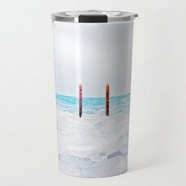 Blue ice lake michigan Travel Mug